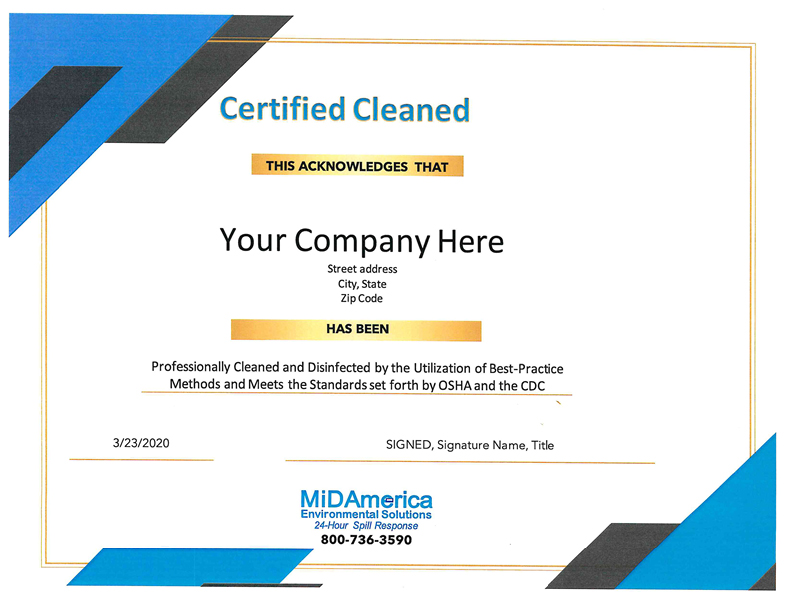 Certified Cleaned CertificateWR